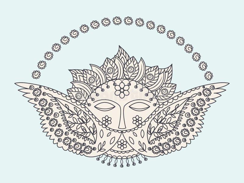 Sun e ornamento das asas ilustração do vetor