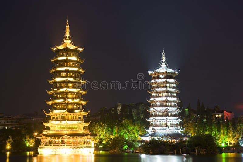 Sun e Pagodas da lua, Guilin, China imagem de stock