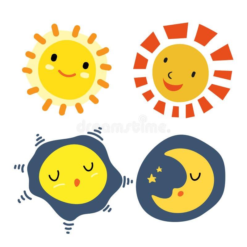 Sun e projeto de caráteres da lua ilustração stock