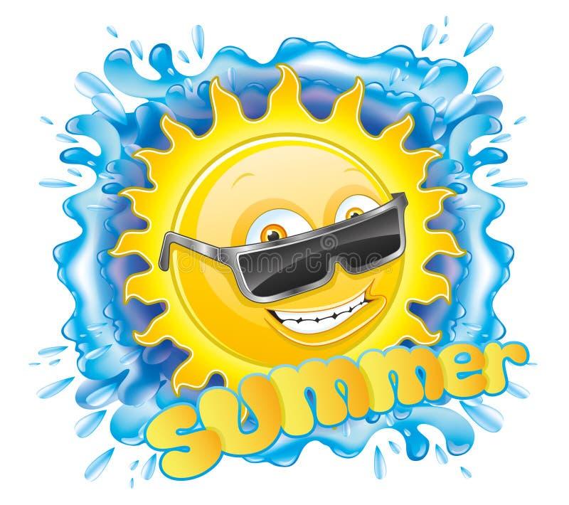 Sun e respingo da água ilustração stock
