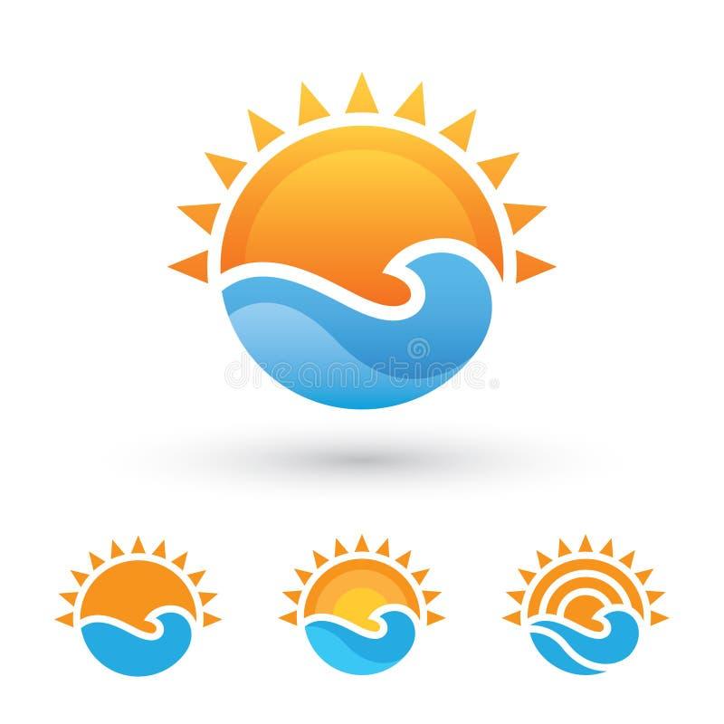 Sun e símbolo do mar ilustração stock