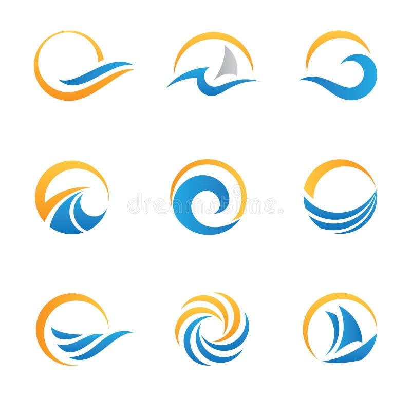 Sun e símbolo e ícones do mar ilustração do vetor