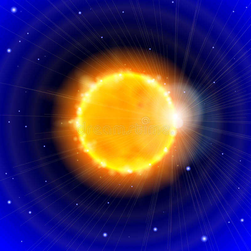 Sun e spazio illustrazione vettoriale