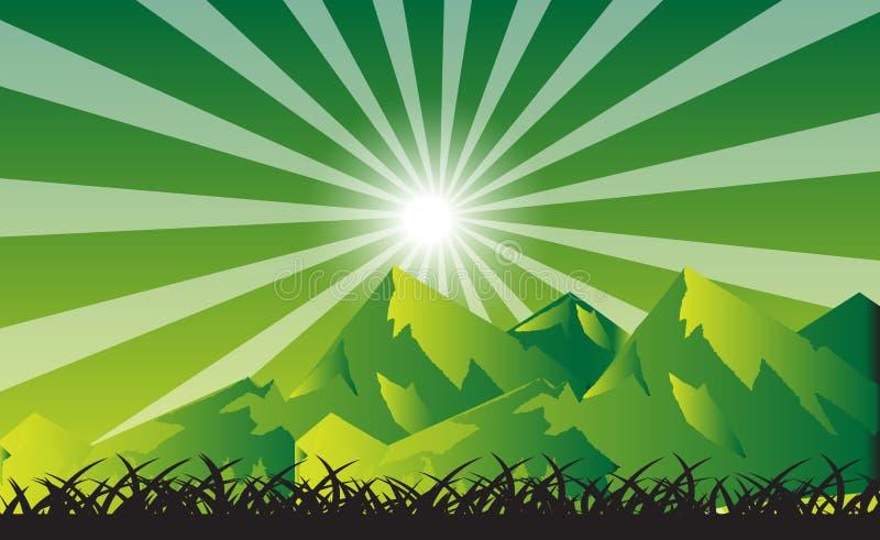 Sun e Sunbeam sopra le montagne illustrazione di stock