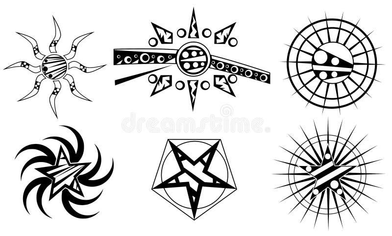 Sun e tatuagem da estrela ilustração do vetor