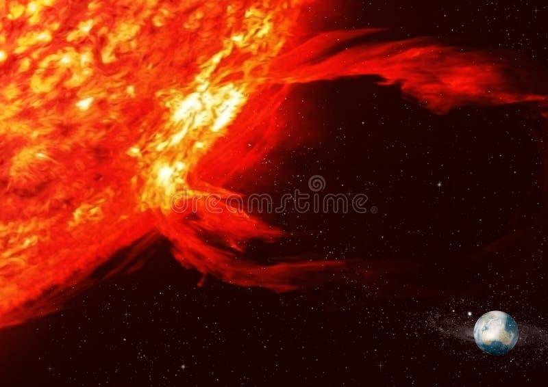 Sun e terra fotografia de stock