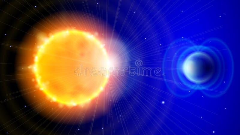 Sun e terra nas profundidades do espaço ilustração stock