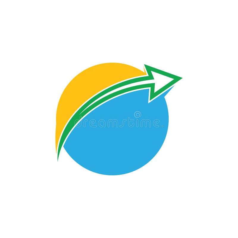 Sun e vetor do logotipo da seta do movimento do planeta do oceano ilustração stock