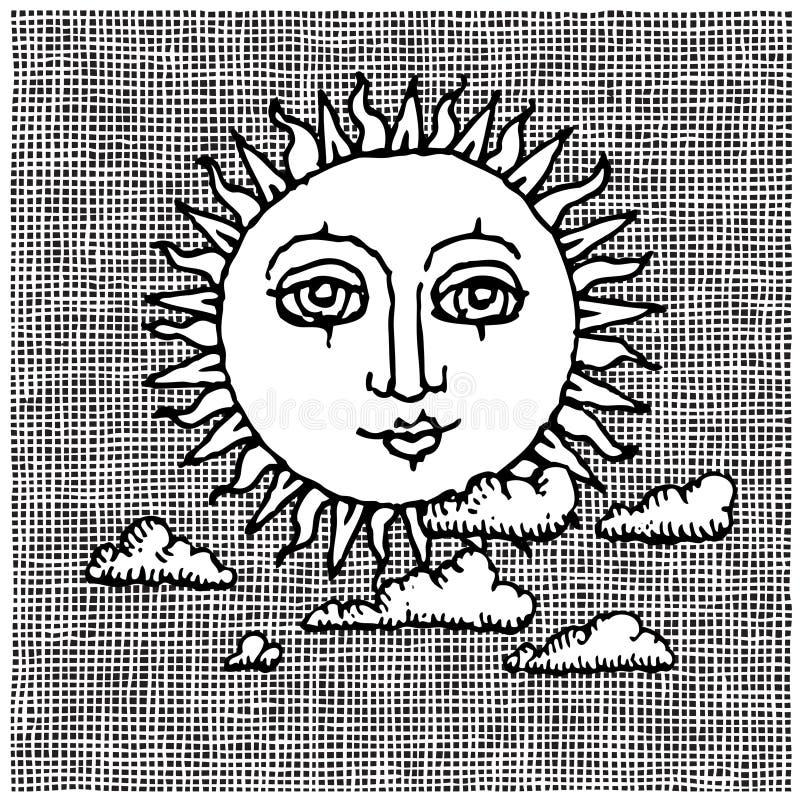 Sun e woodcut das nuvens ilustração do vetor