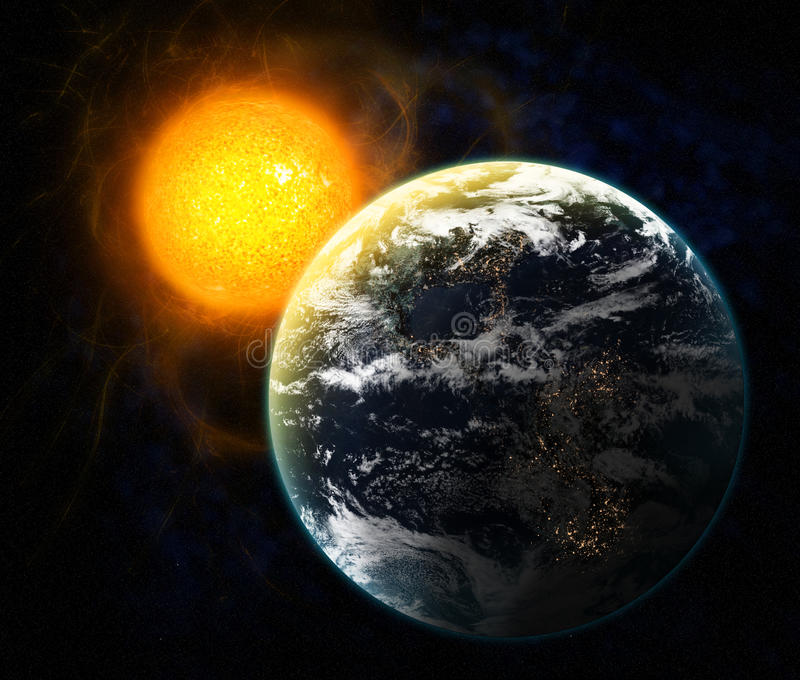 Sun and Earth. Concept of solar wind to Earth stock illustration