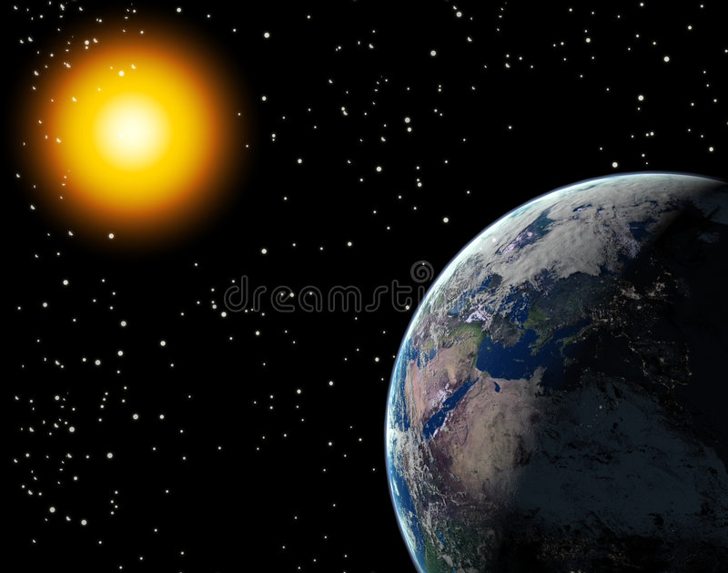 Sun & Earth stock illustration
