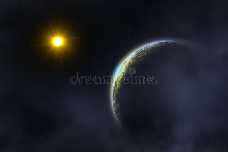Sun and Earth. Space landscape : earth and sun (image created in Photoshop royalty free illustration