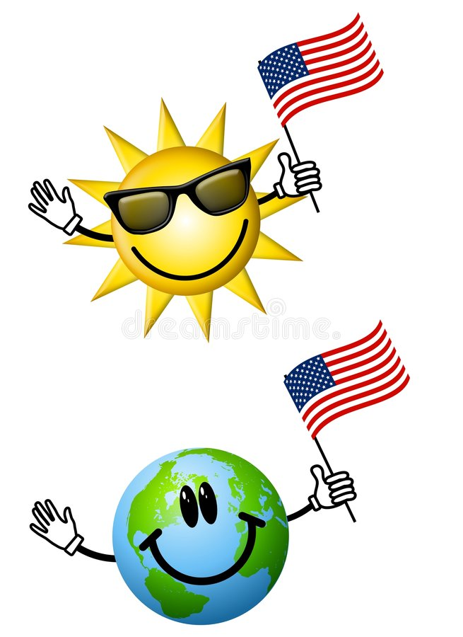 Sun Earth With American Flags. An illustration featuring your choice of 2 cartoon characters - sun and earth - holding American flags, ideal for Independence day vector illustration