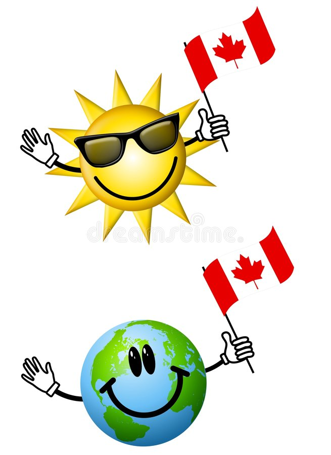 Sun Earth With Canadian Flags. An illustration featuring your choice of 2 cartoon characters - sun and earth - holding Canadian flags, ideal for Canada Day vector illustration
