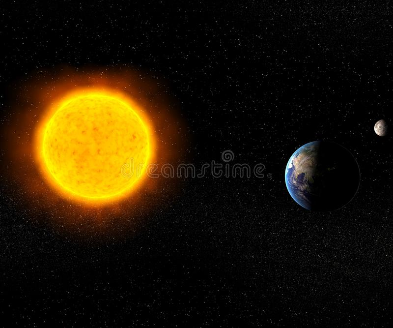 Download Sun with Earth and Moon stock illustration. Image of creation - 15214312