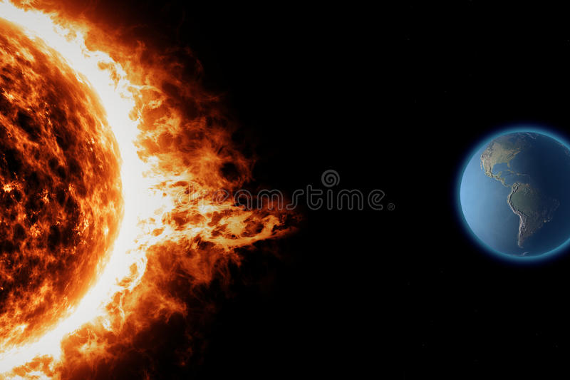 Sun, earth space universe solar storm. Sun and solar storm seen from space royalty free illustration
