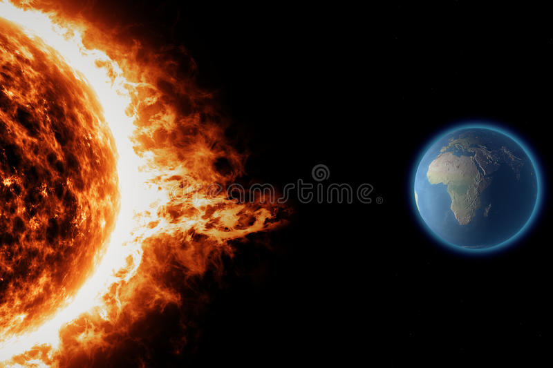 Sun, earth space universe solar storm. Sun and solar storm seen from space stock illustration