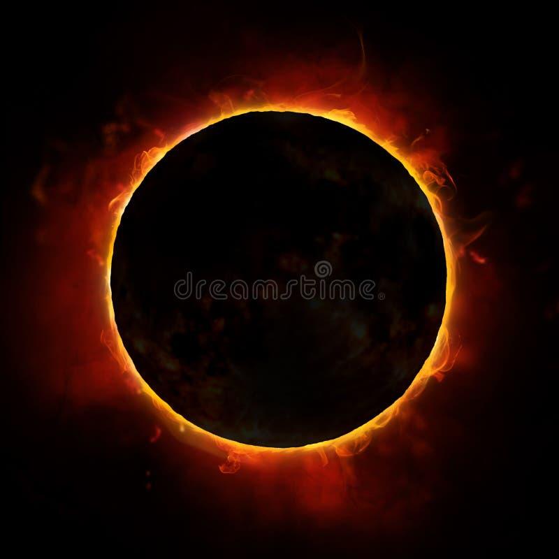 Sun eclipse. On the black background
