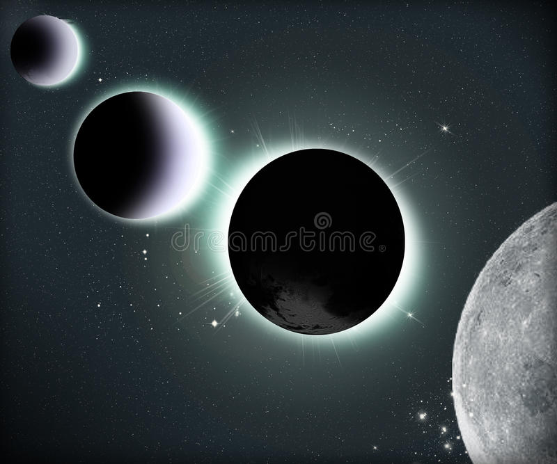 Sun eclipse in space with planets vector illustration