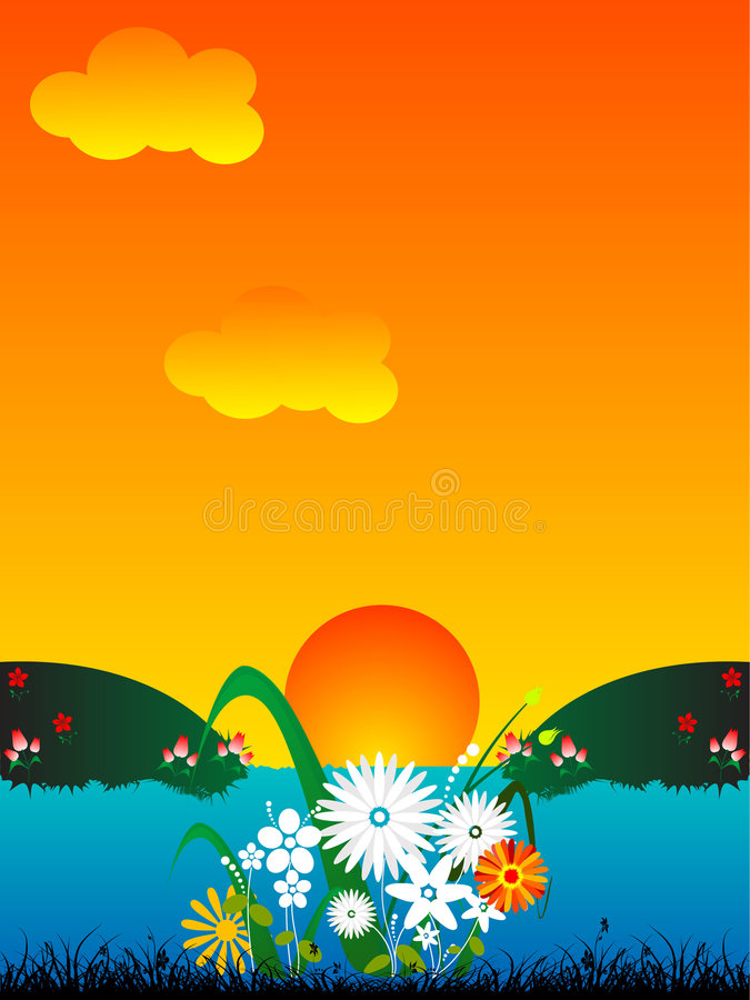 Sun ed i fiori si avvicinano al lago fotografia stock libera da diritti