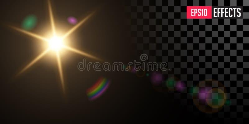 Sun Effet de la lumière spécial de fusée de lentille d'étoile transparente de vecteur image stock
