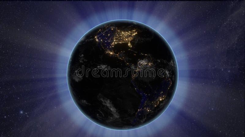 Sun-Eklipse vom Raum durch Erde stock abbildung