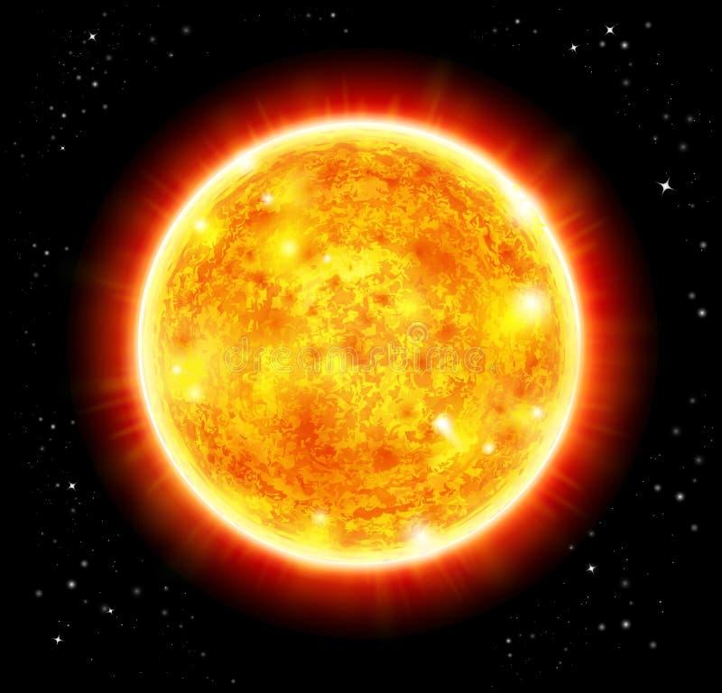 Sun em um espaço ilustração stock