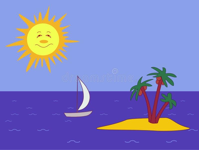 Sun, embarcação e console ilustração stock