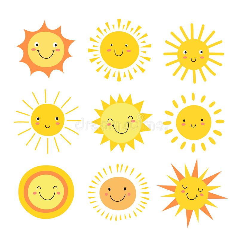 Sun emoji. Funny summer sunshine, sun baby happy morning emoticons. Cartoon sunny smiling faces vector icons vector illustration