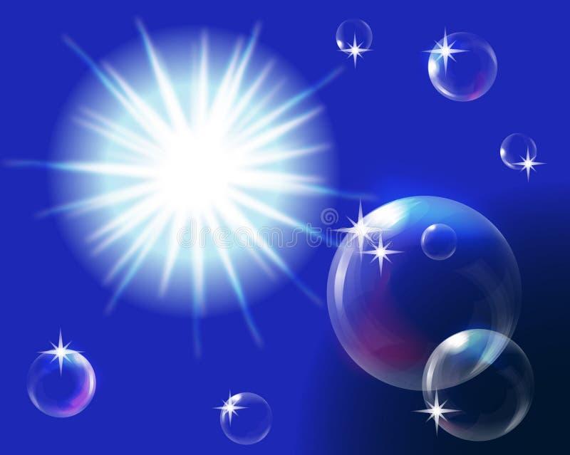 Sun en cielo azul con las burbujas stock de ilustración