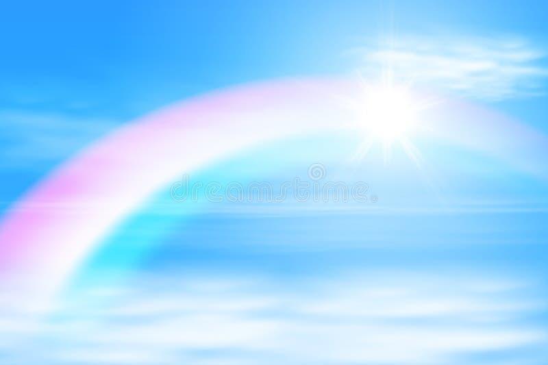 Sun en el cielo con el arco iris stock de ilustración