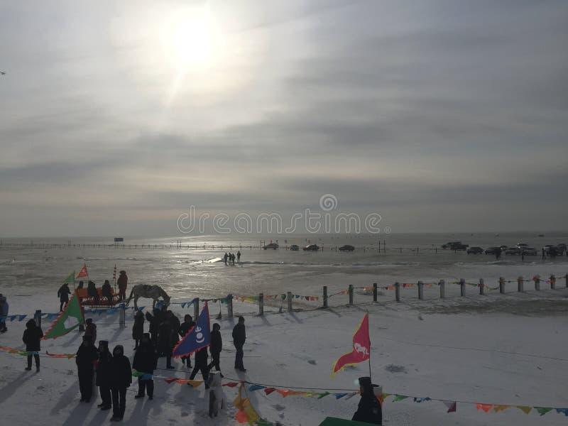 Sun en el lago Chagan, China imágenes de archivo libres de regalías