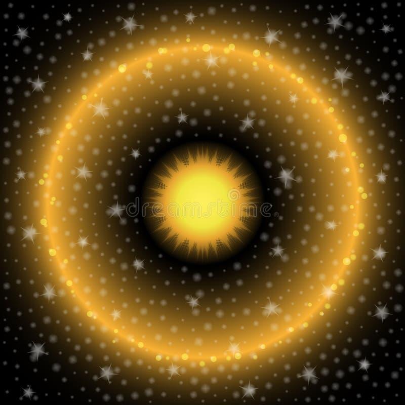 Sun en espace et étoiles illustration de vecteur