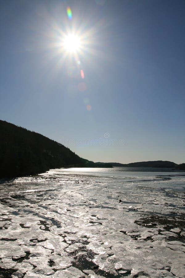 Sun en hielo foto de archivo