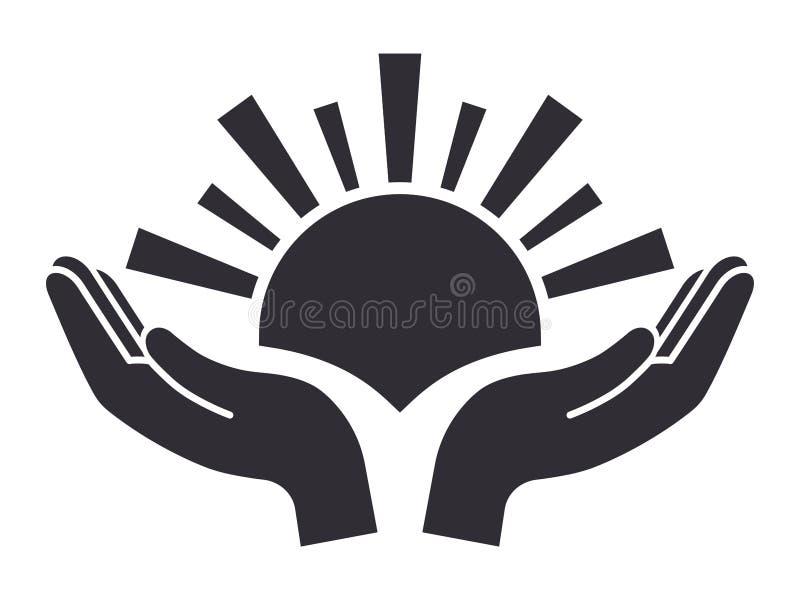Sun en icono de las palmas stock de ilustración