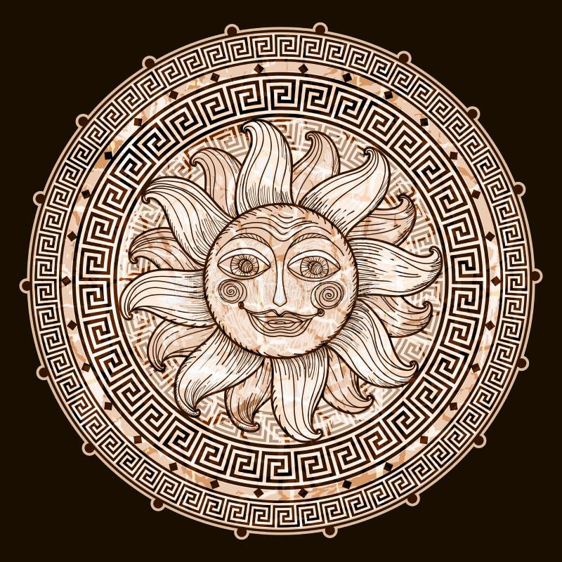 Sun en marco con un meandro libre illustration