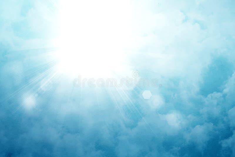 Sun en un cielo azul con los rayos y la llamarada, fondo abstracto libre illustration