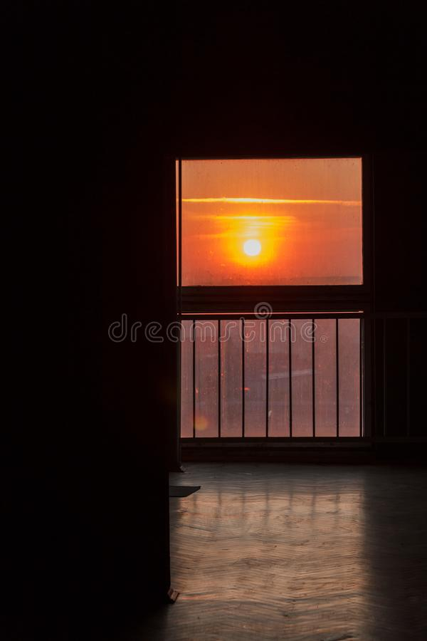 Sun at the end of the corridor. Sun light in the morning at the end of the corridor stock images