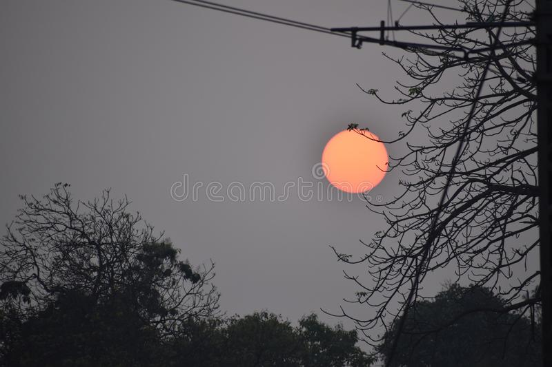 Sun at the end of day. This is taken at the end of the daysun set time stock photo