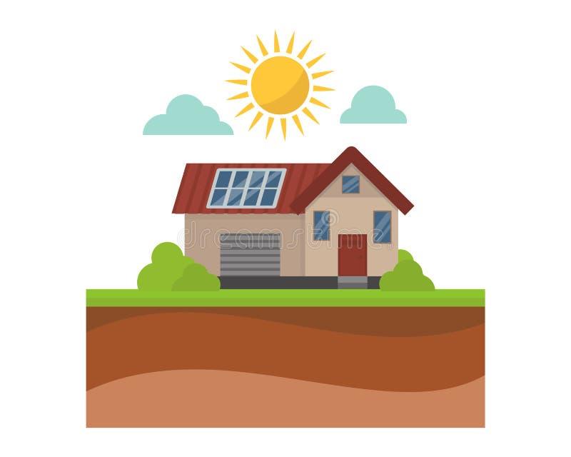 Sun-Energiehaus-Vektorillustration vektor abbildung