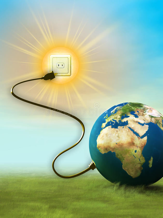 Sun energy. Our planet's energy comes from the sun. Digital illustration