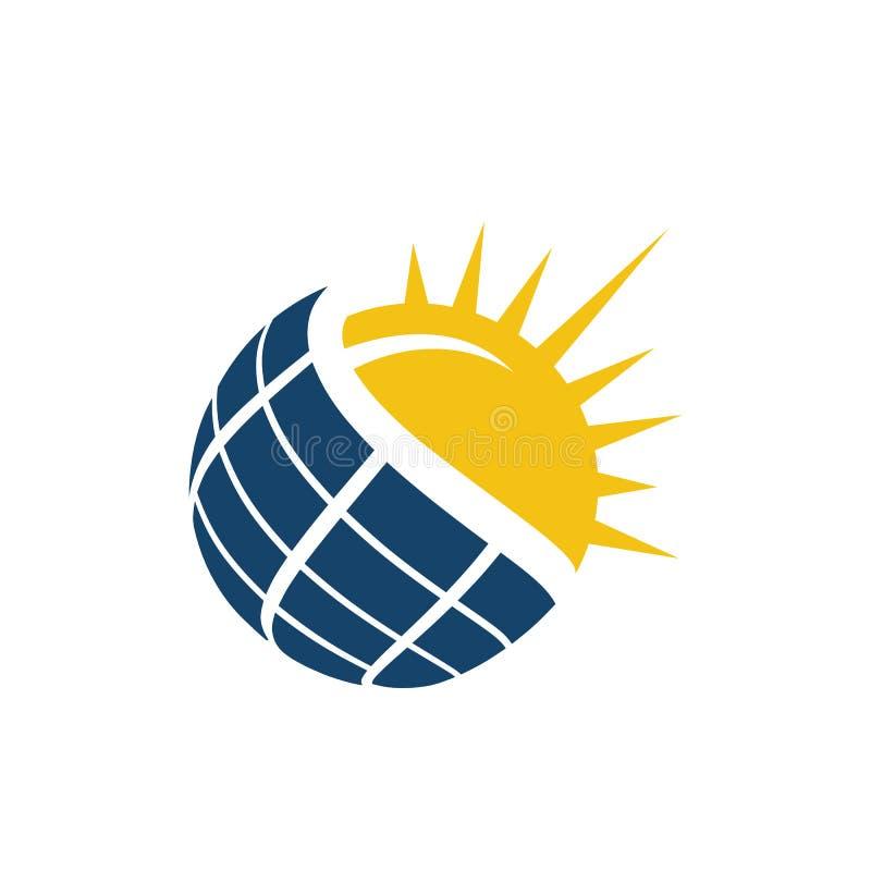 Sun Energy Solar Panels Logo-Haus und Vorlage für grüne Energie und natürliche Elektrizität vektor abbildung