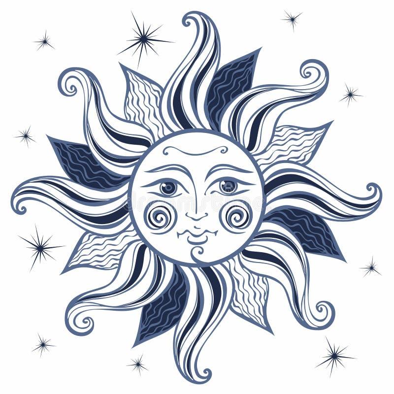 Sun Estilo do vintage astrology étnico pagan Estilo de Boho Vetor ilustração royalty free