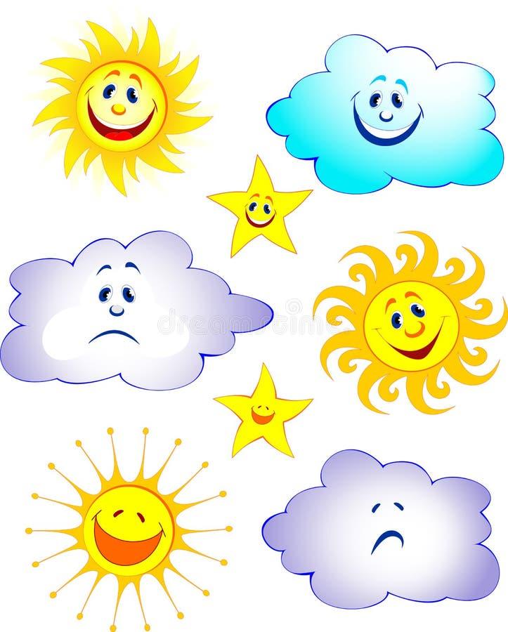 Sun, estrella, nube libre illustration