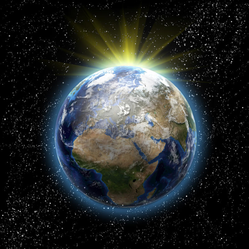 Sun, estrellas y tierra del planeta ilustración del vector