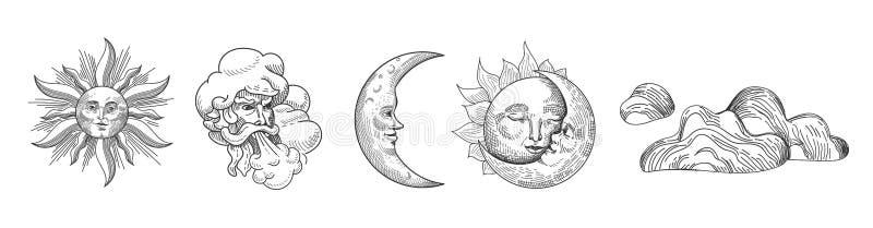 Sun et collection de cru de lune Conception orientale de style avec les étoiles et le Celestial Astrological Symbols pour le tiss illustration libre de droits
