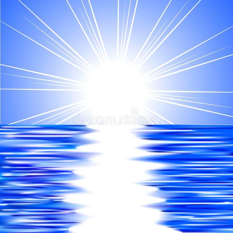 Sun et eau. illustration de vecteur