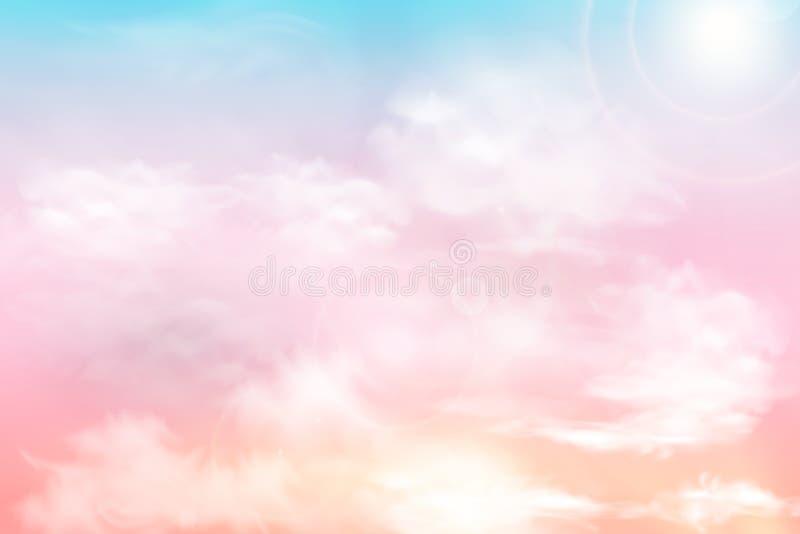 Sun et fond de nuages avec une couleur en pastel douce Fond en pastel de ciel ensoleillé magique d'imagination avec nuageux color illustration de vecteur