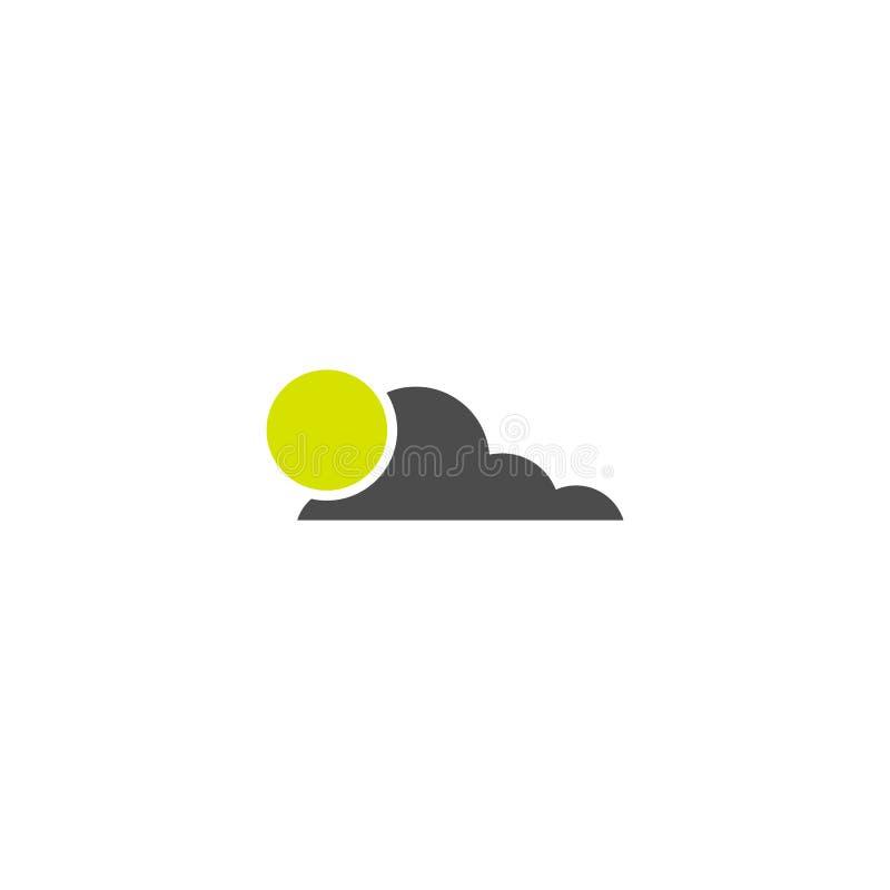 Sun et icône de temps de nuage d'isolement sur le fond blanc Symbole de vecteur illustration stock