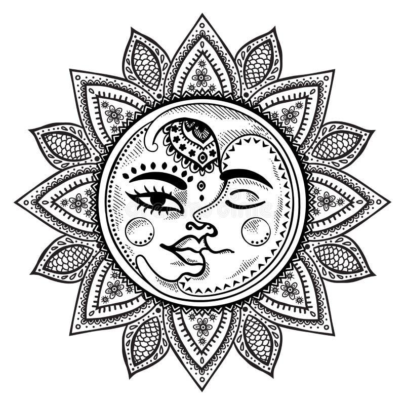 Sun et illustration de vintage de lune illustration de vecteur